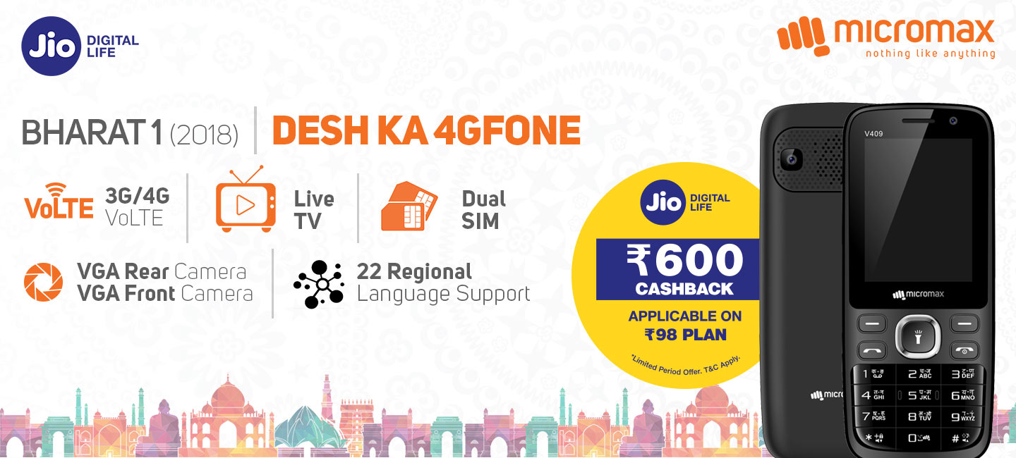 big sale 3465e 5101d Buy Micromax Bharat 1 4G feature Phone at Best Price with Jio Offer