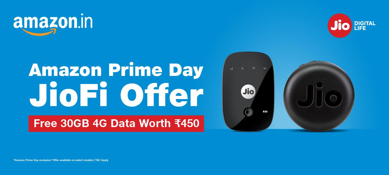 JioFi Amazon Prime Day Offer - Get Free Additional 4G Data Worth ₹450