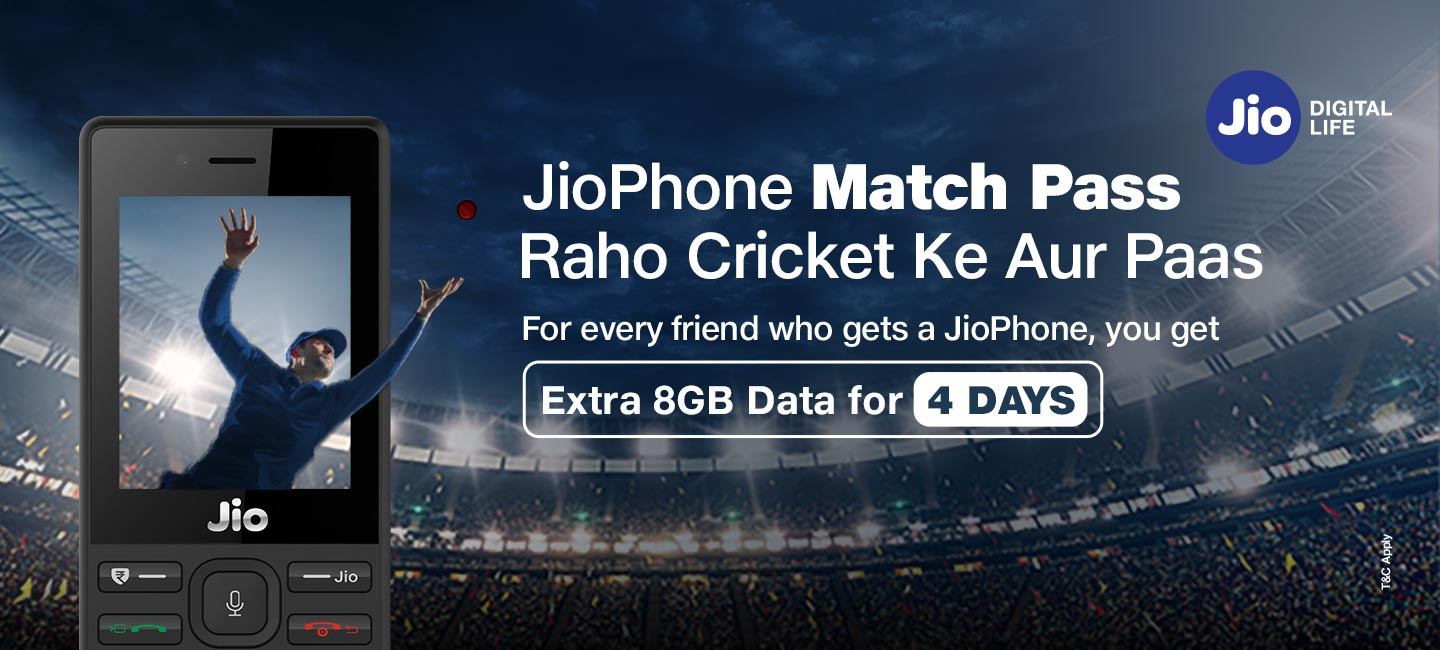 JioPhone Cricket Match Pass Offer Poster
