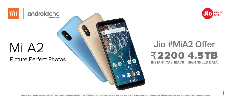 Buy Mi A2 Online India - Get Benefits Worth ₹2200 & 4 5 TB 4G Data