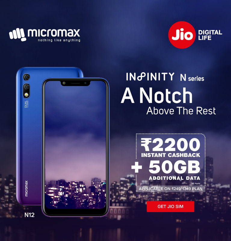 Jio Micromax Super Cashback and Data Offer