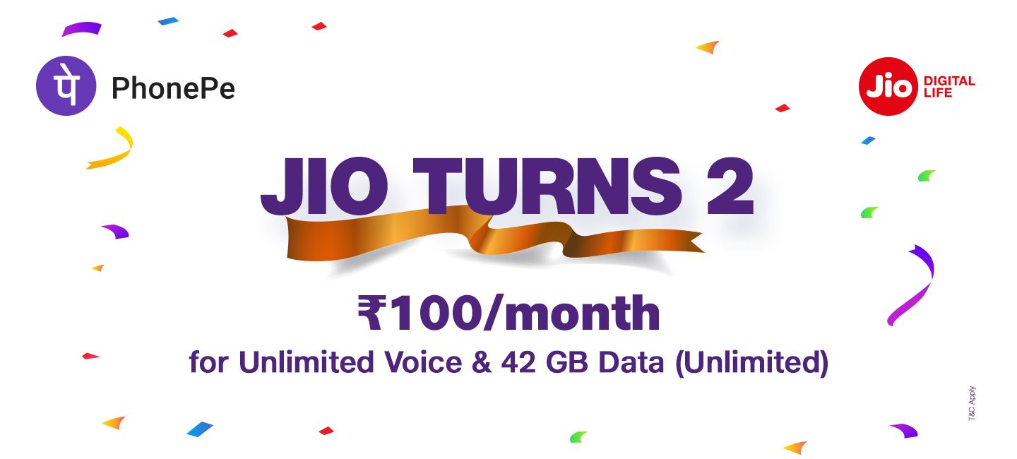 Jio PhonePe Offer - Recharge Using PhonePe & Get ₹100 Instant Cashback