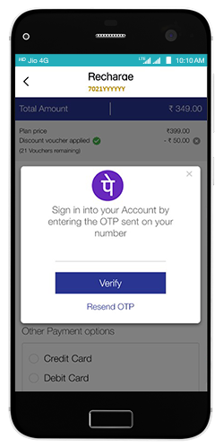 Sign in to your PhonePe account after confirming your number and OTP.