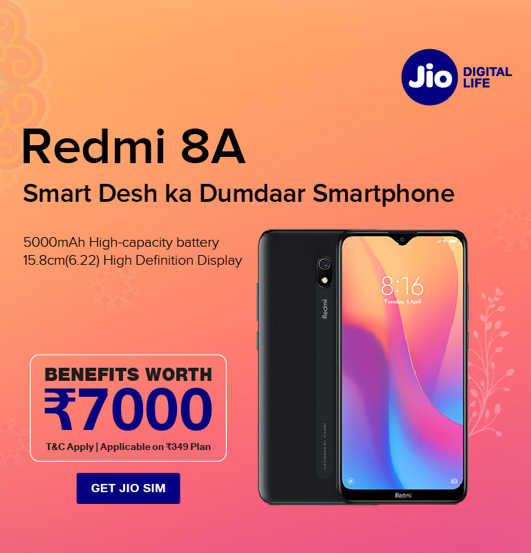 Jio Redmi 8A Offer Hero Image