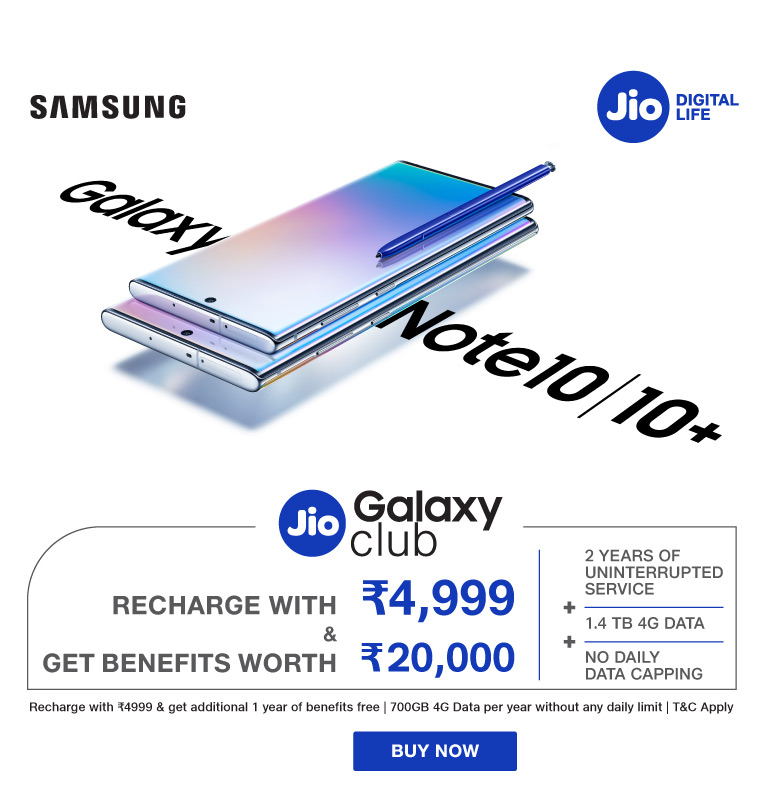 Samsung Galaxy Note10 – Jio Double Benefit Offer – 2019